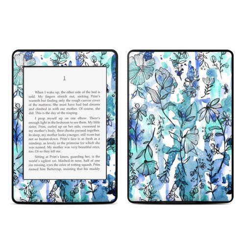 Blue Ink Floral Amazon Kindle Paperwhite Skin