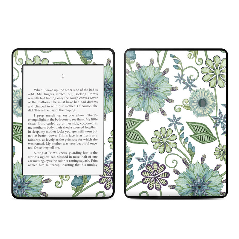 Amazon Kindle Paperwhite 3rd Gen Skin design of Green, Pattern, Flower, Botany, Plant, Leaf, Design, Wildflower with white, green, blue colors