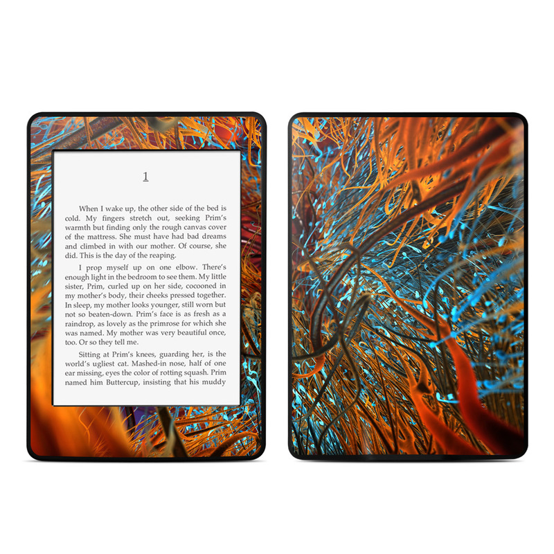 Amazon Kindle Paperwhite 3rd Gen Skin design of Orange, Tree, Electric blue, Organism, Fractal art, Plant, Art, Graphics, Space, Psychedelic art with orange, blue, red, yellow, purple colors