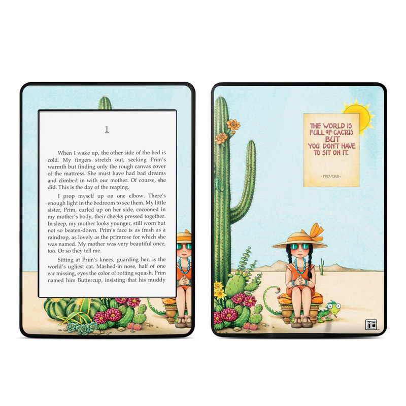 Amazon Kindle Paperwhite 3rd Gen Skin design of Cartoon, Cactus, Illustration, Animated cartoon, Plant, Vegetable, Fictional character, Art with green, yellow, pink, orange, brown colors