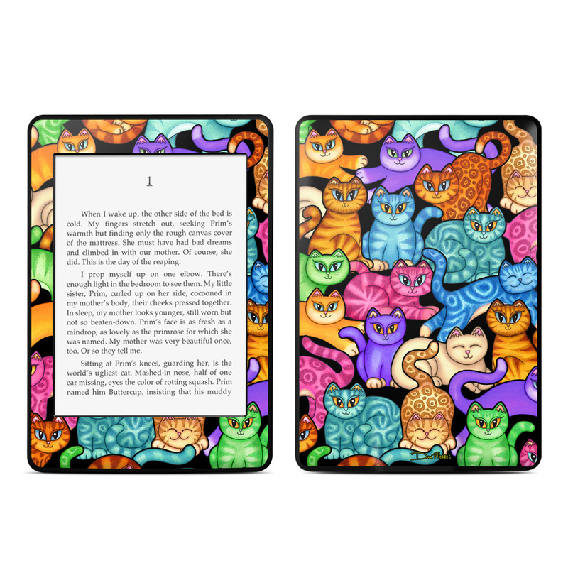 Amazon Kindle Paperwhite 3rd Gen Skin design of Cat, Cartoon, Felidae, Organism, Small to medium-sized cats, Illustration, Animated cartoon, Wildlife, Kitten, Art with black, blue, red, purple, green, brown colors