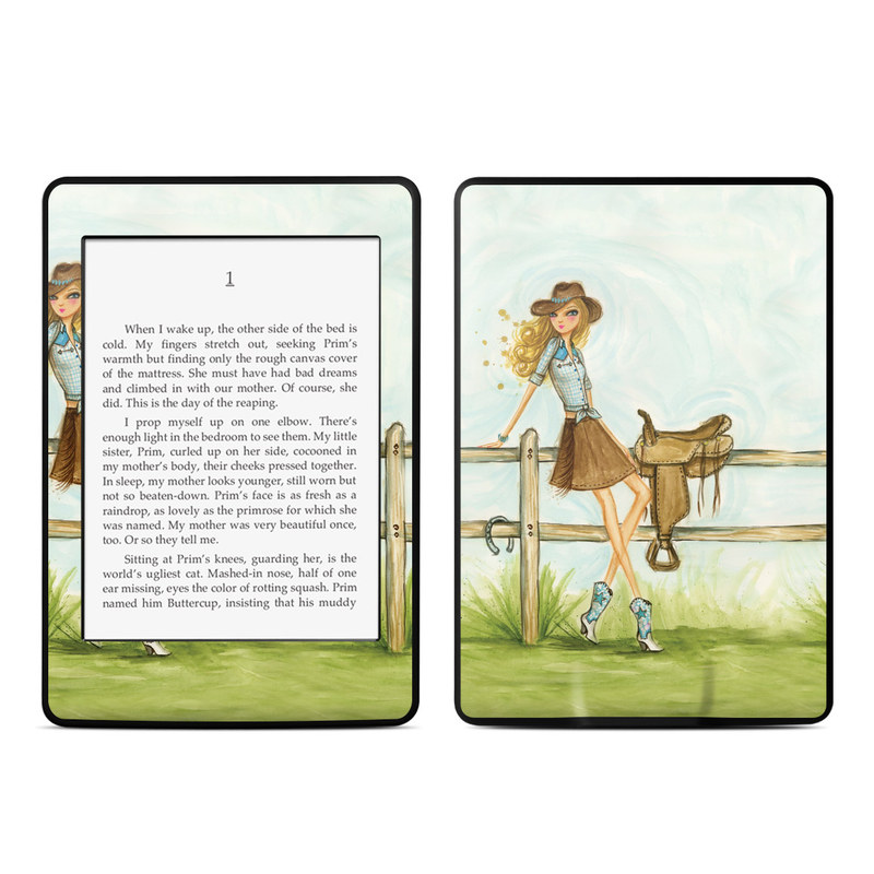 Amazon Kindle Paperwhite 3rd Gen Skin design of Cartoon, Illustration, Art, Watercolor paint, Footwear, Fashion illustration, Grass, Drawing, Painting, Plant with gray, green, red, black colors