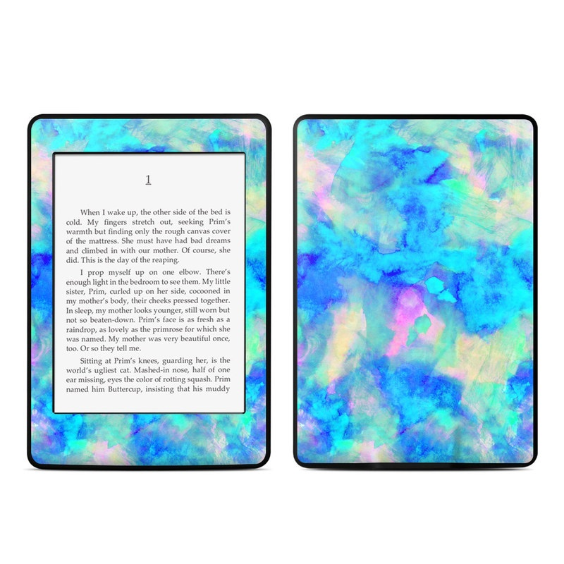 Amazon Kindle Paperwhite 3rd Gen Skin design of Blue, Turquoise, Aqua, Pattern, Dye, Design, Sky, Electric blue, Art, Watercolor paint with blue, purple colors