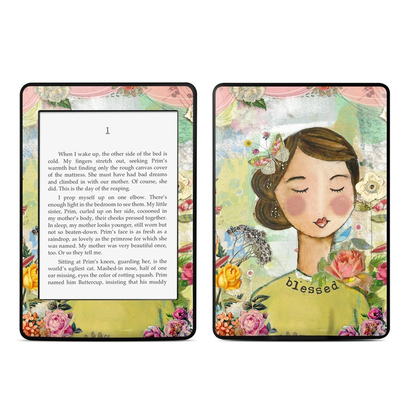 Amazon Kindle Paperwhite 3rd Gen Skin design of Illustration, Cheek, Art, Watercolor paint, Retro style, Painting, Plant, Flower, Fashion illustration, Fictional character with pink, green, yellow, white, red, blue colors