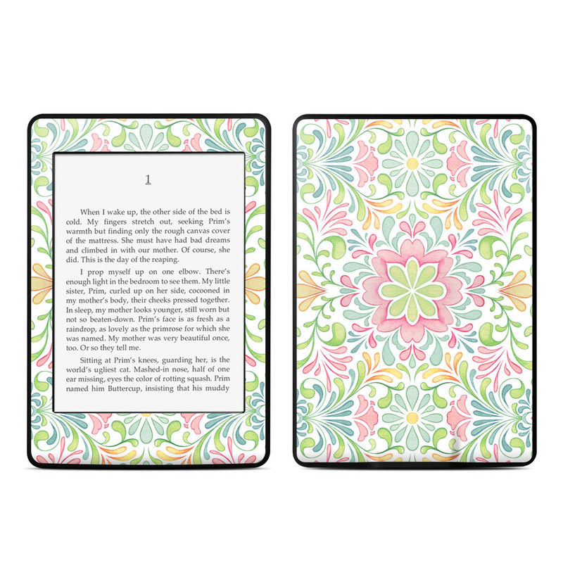 Amazon Kindle Paperwhite 3rd Gen Skin design of Pattern, Pink, Visual arts, Design, Textile, Wrapping paper, Symmetry, Floral design, Motif with gray, white, pink, green colors