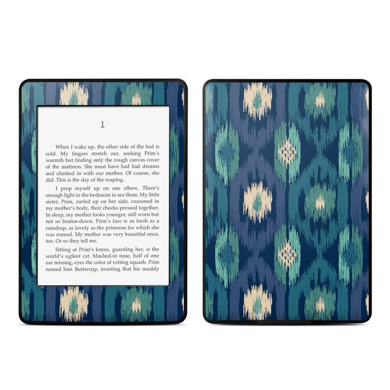 Amazon Kindle Paperwhite 3rd Gen Skin design of Green, Pattern, Leaf, Teal, Textile, Design, Grass, Symmetry, Plant with blue, green, white colors