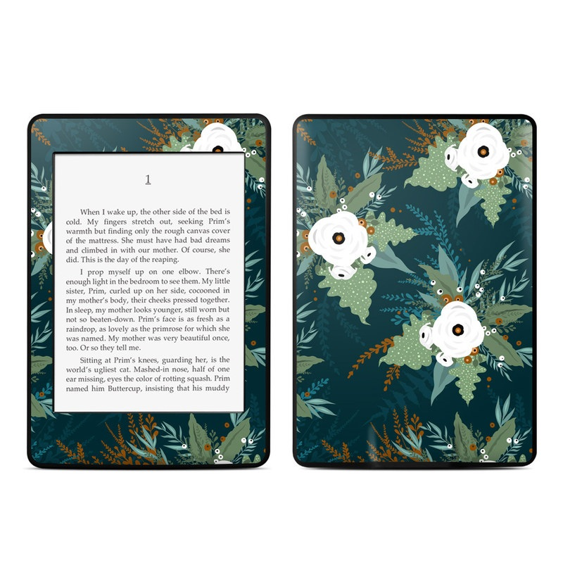 Amazon Kindle Paperwhite 3rd Gen Skin design of Pattern, Branch, Tree, Illustration, Design, Plant, Textile, Art, Visual arts, Space with green, white, red, blue colors