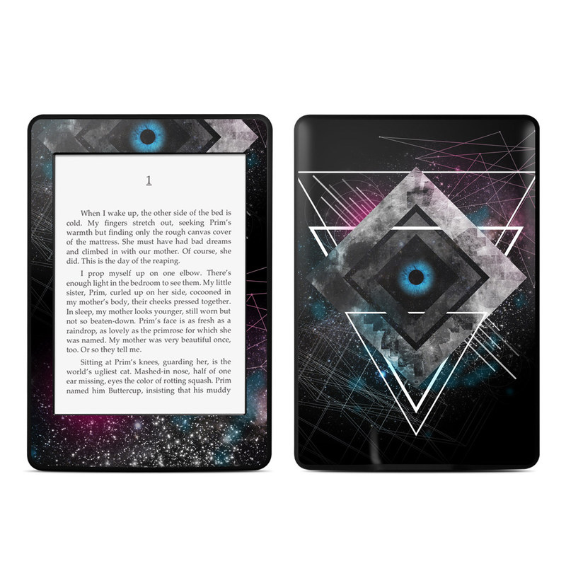 Amazon Kindle Paperwhite 3rd Gen Skin design of Graphic design, Design, Pattern, Graphics, Illustration, Font, Circle, Triangle, Fractal art, Logo with black, gray colors