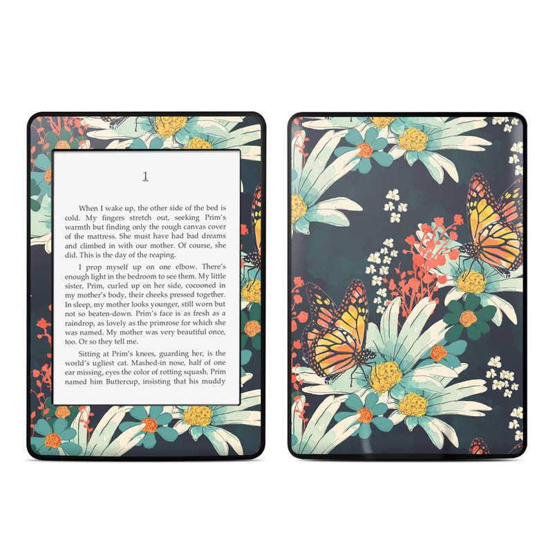Amazon Kindle Paperwhite 3rd Gen Skin design of Floral design, Pattern, Flower, Floristry, Textile, Botany, Plant, Visual arts, Design, Flower Arranging with black, gray, green, red, blue, pink colors