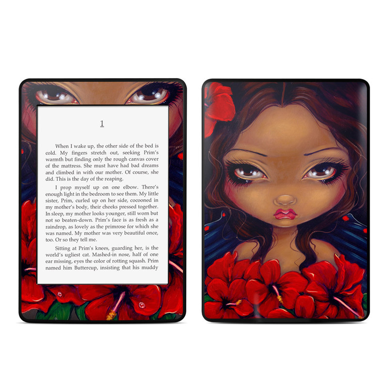 Red Hibiscus Fairy Amazon Kindle Paperwhite Skin