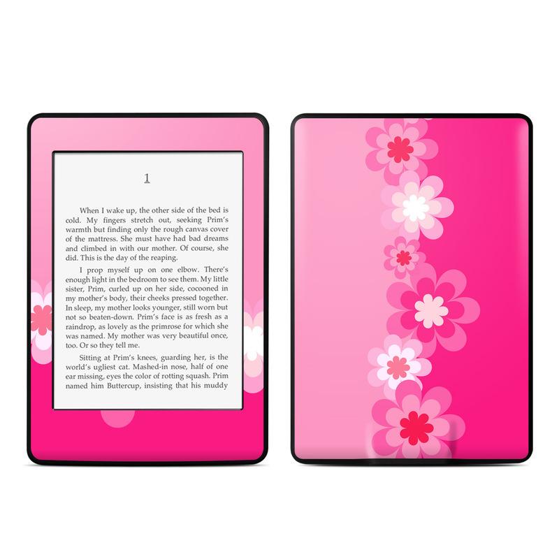 Retro Pink Flowers Amazon Kindle Paperwhite Skin