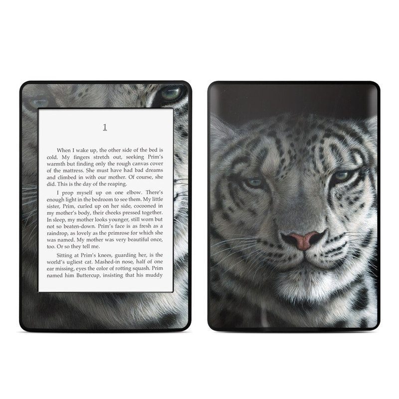 Amazon Kindle Paperwhite 3rd Gen Skin design of Mammal, Vertebrate, Wildlife, Terrestrial animal, Whiskers, Felidae, Snout, Big cats, Head, Carnivore with black, gray colors