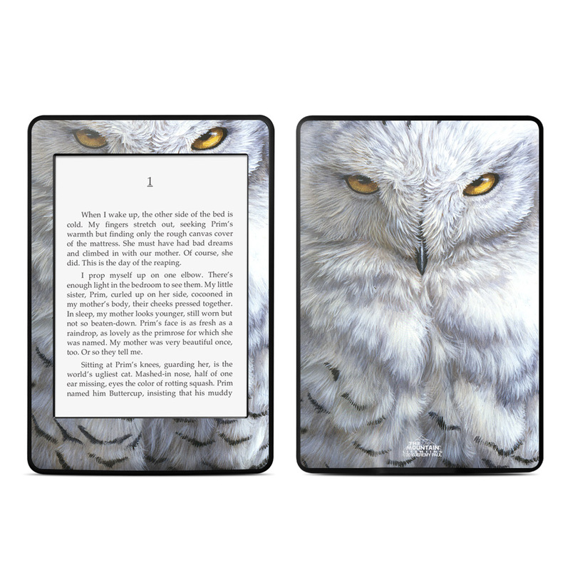 Amazon Kindle Paperwhite 3rd Gen Skin design of Owl, Bird, Bird of prey, Snowy owl, great grey owl, Close-up, Eye, Snout, Wildlife, Eastern Screech owl with gray, white, black, blue, purple colors