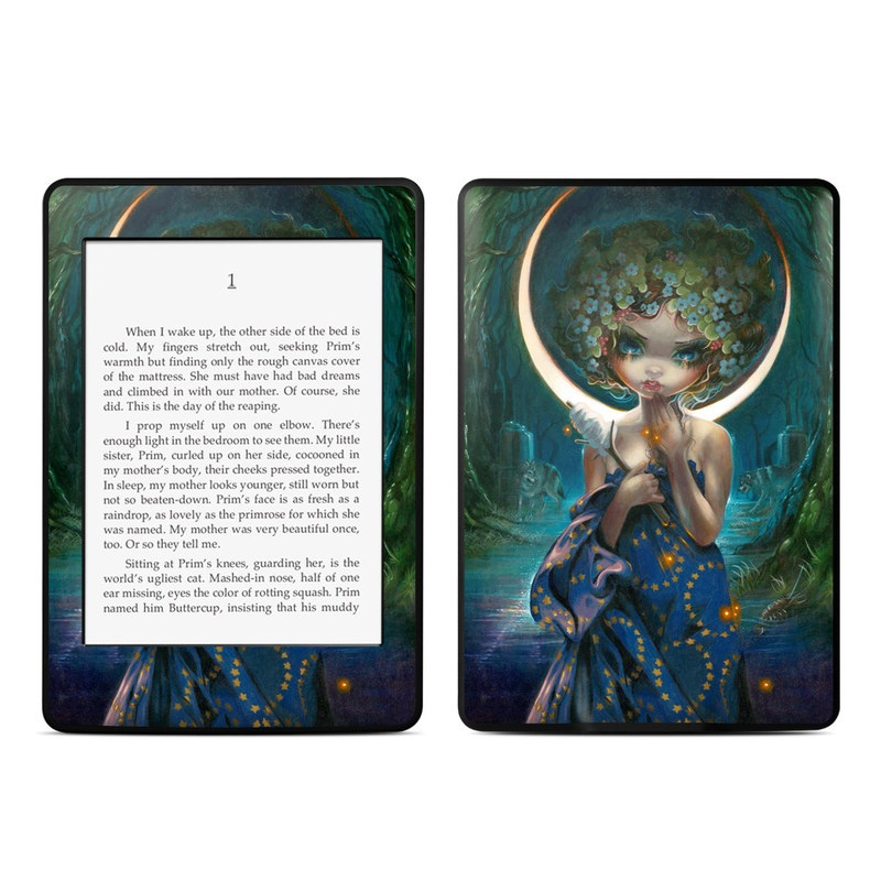 Amazon Kindle Paperwhite 3rd Gen Skin design of Cg artwork, Lady, Painting, Mythology, Art, Illustration, Fictional character, Visual arts, Supernatural creature with blue, green, yellow, white, orange, red colors