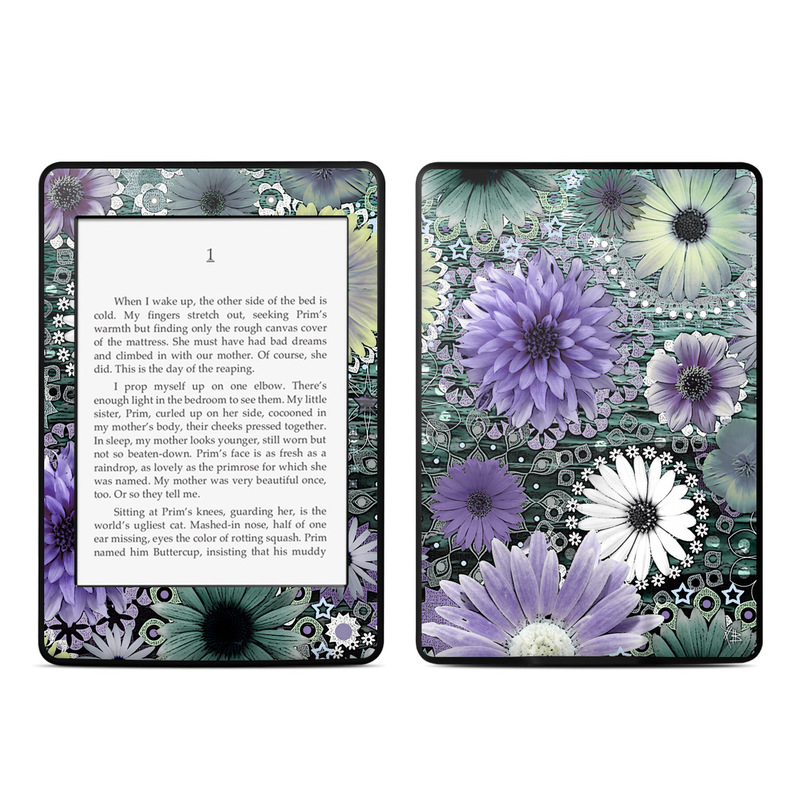 Amazon Kindle Paperwhite 3rd Gen Skin design of Purple, Flower, african daisy, Pericallis, Plant, Violet, Lavender, Botany, Petal, Pattern with gray, black, blue, purple, white colors