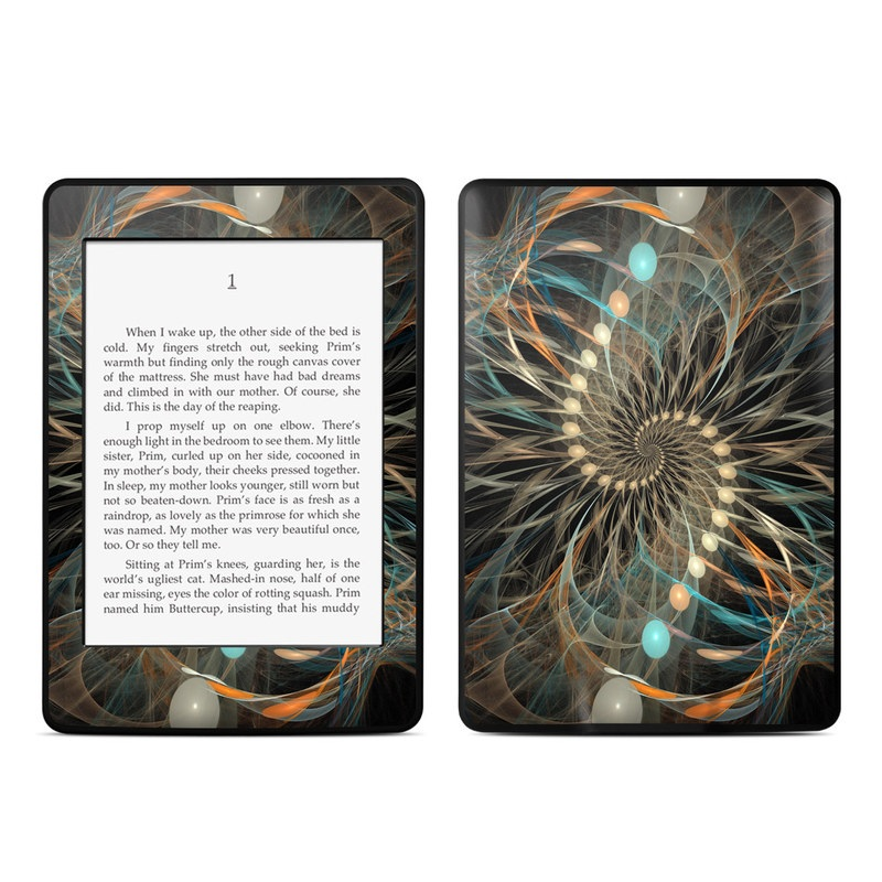 Amazon Kindle Paperwhite 3rd Gen Skin design of Fractal art, Art, Organism, Electric blue, Design, Graphics, Circle, Pattern, Symmetry, Graphic design with black, green, gray, red colors