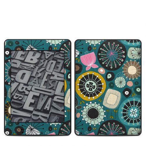 Blooms Teal Amazon Kindle Paperwhite 4th Gen Skin
