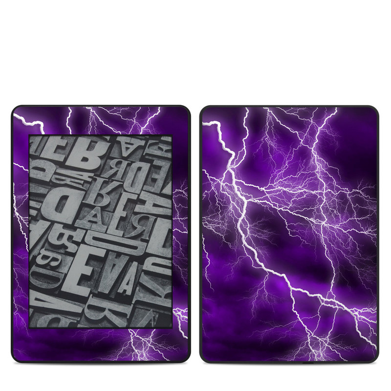 Amazon Kindle Paperwhite 4th Gen Skin design of Thunder, Lightning, Thunderstorm, Sky, Nature, Purple, Violet, Atmosphere, Storm, Electric blue with purple, black, white colors