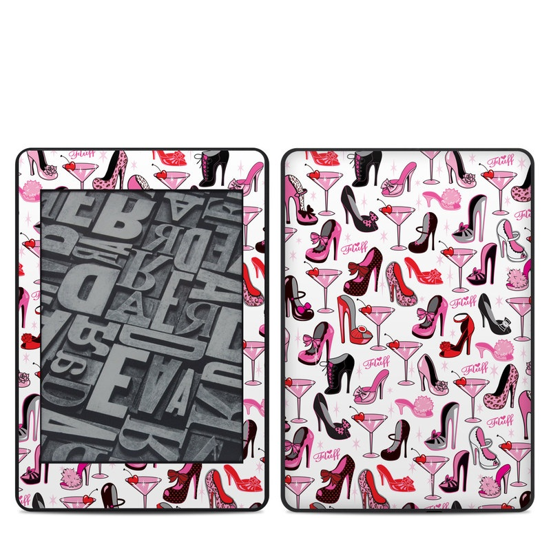 Amazon Kindle Paperwhite 4th Gen Skin design of Pink, Footwear, High heels, Clip art, Line, Font, Design, Shoe, Graphics with white, pink, black, red colors