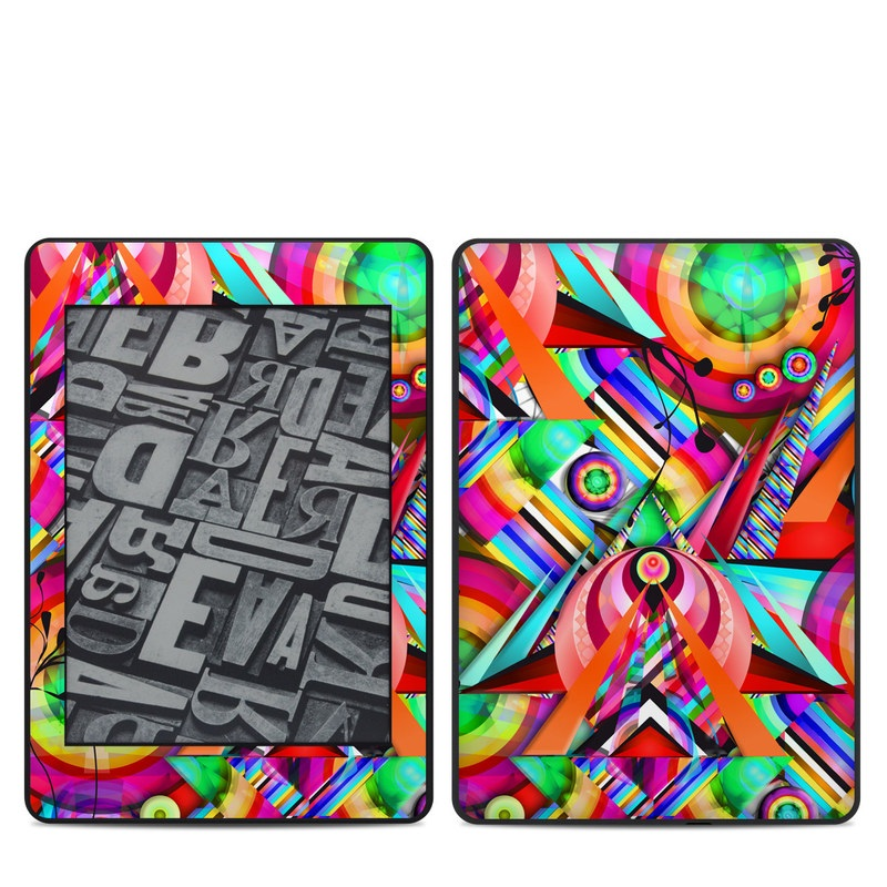 Amazon Kindle Paperwhite 4th Gen Skin design of Psychedelic art, Pattern, Design, Graphic design, Colorfulness, Visual arts, Circle, Art with red, pink, green, yellow, orange colors