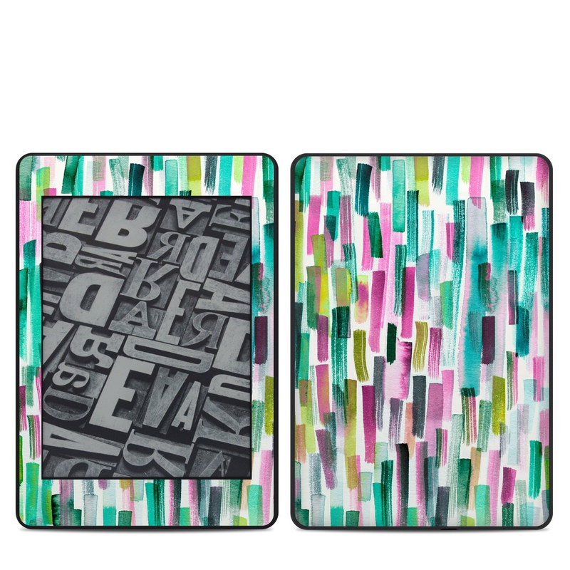 Amazon Kindle Paperwhite 4th Gen Skin design of Line, Turquoise, Pink, Pattern, Design, Magenta, Colorfulness with white, green, blue, pink, purple, black, blue colors