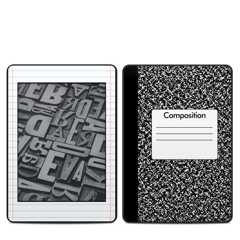 Amazon Kindle Paperwhite 4th Gen Skin design of Text, Font, Line, Pattern, Black-and-white, Illustration with black, gray, white colors