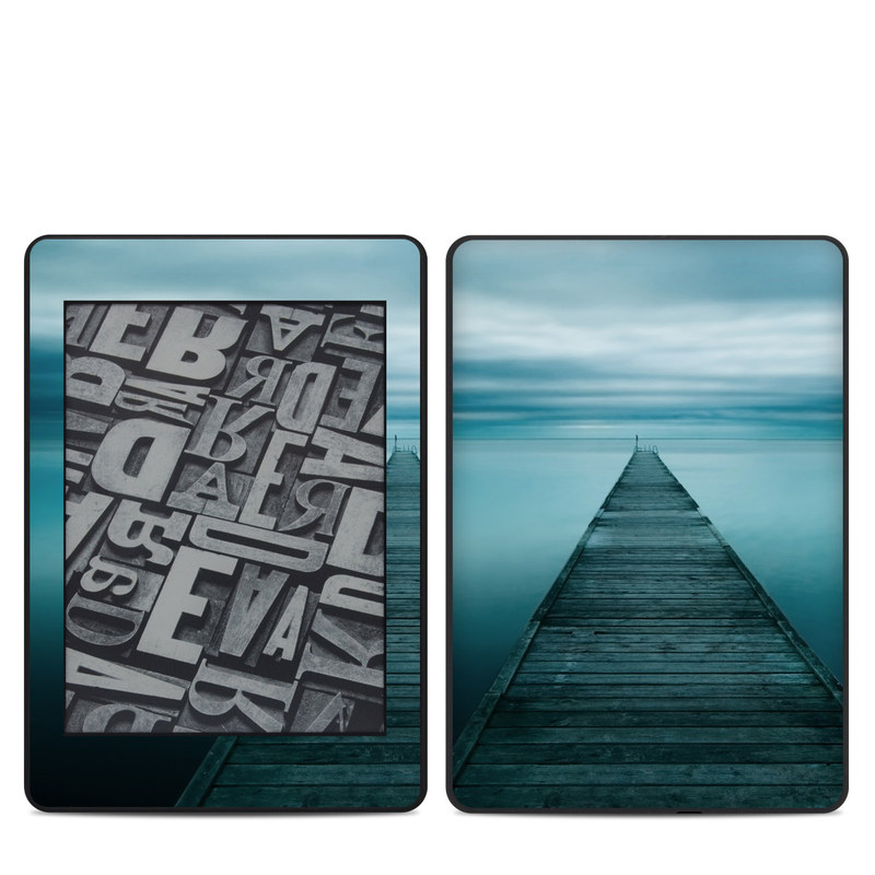 Amazon Kindle Paperwhite 4th Gen Skin design of Sea, Water, Horizon, Sky, Blue, Ocean, Daytime, Calm, Fixed link, Symmetry with black, blue, gray colors