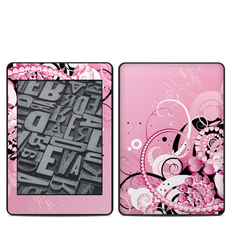 Amazon Kindle Paperwhite 4th Gen Skin design of Pink, Floral design, Graphic design, Text, Design, Flower Arranging, Pattern, Illustration, Flower, Floristry with pink, gray, black, white, purple, red colors