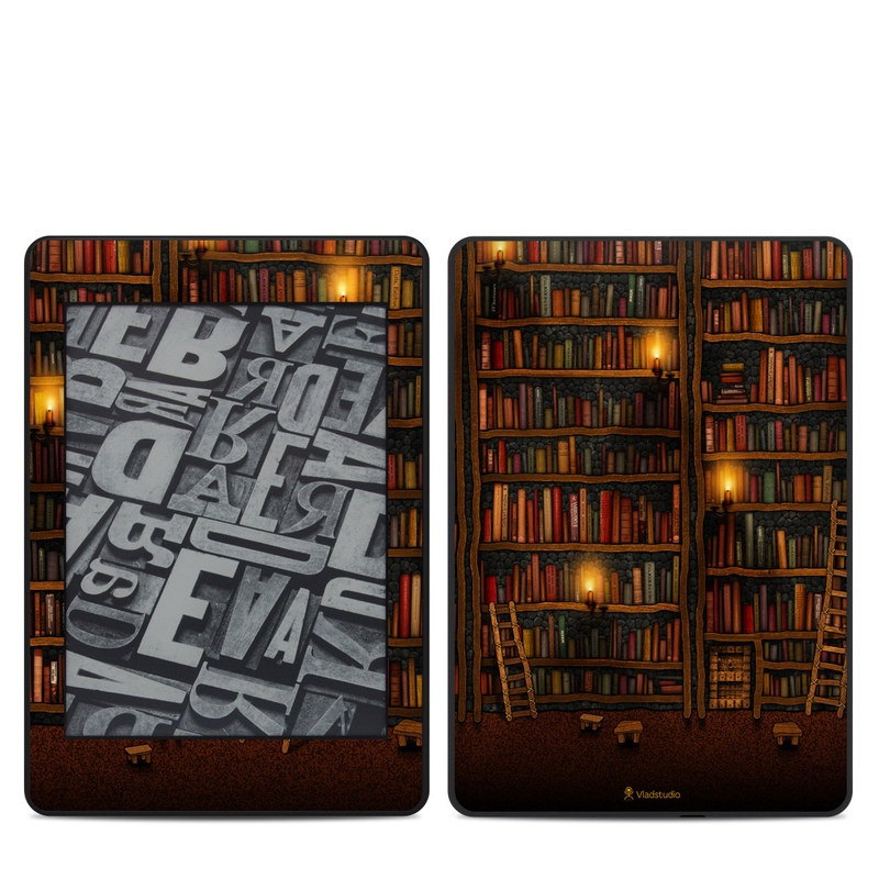 Amazon Kindle Paperwhite 4th Gen Skin design of Shelving, Library, Bookcase, Shelf, Furniture, Book, Building, Publication, Room, Darkness with black, red colors