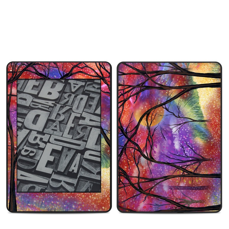Amazon Kindle Paperwhite 4th Gen Skin design of Nature, Tree, Natural landscape, Painting, Watercolor paint, Branch, Acrylic paint, Purple, Modern art, Leaf with red, purple, black, gray, green, blue colors