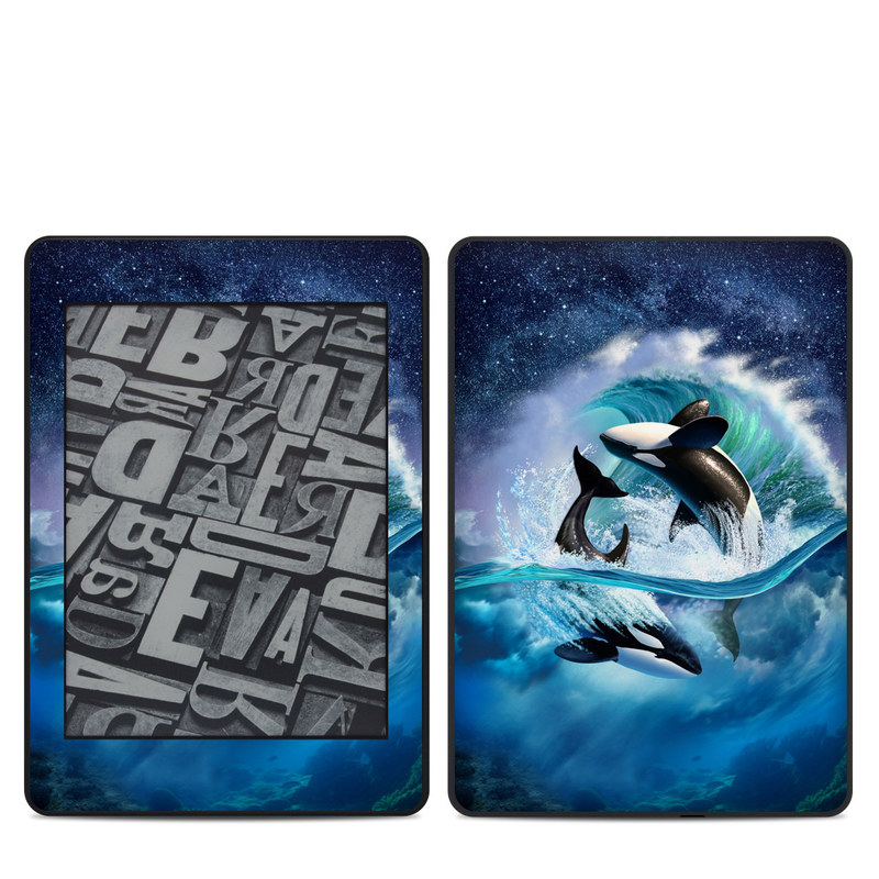 Amazon Kindle Paperwhite 4th Gen Skin design of Dolphin, Short-beaked common dolphin, Sky, Cetacea, Killer whale, Marine mammal, Water, Illustration, Bottlenose dolphin, Common bottlenose dolphin with black, blue, white, green colors