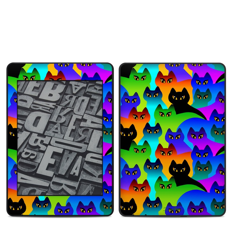 Amazon Kindle Paperwhite 4th Gen Skin design of Black cat, Purple, Cat, Small to medium-sized cats, Pattern, Design, Felidae, Illustration, Art with black, blue, green, purple colors