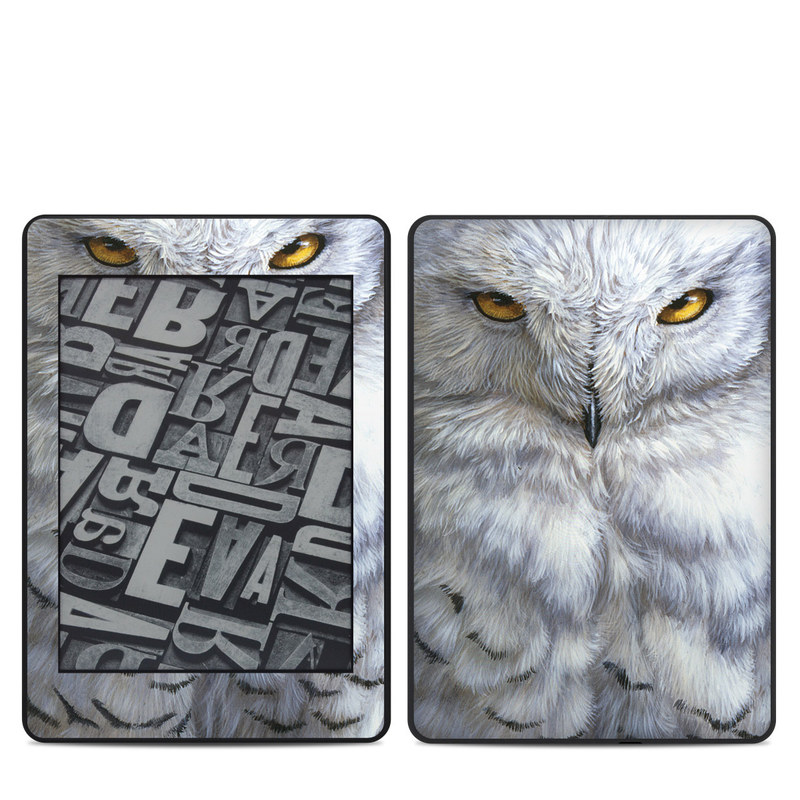 Amazon Kindle Paperwhite 4th Gen Skin design of Owl, Bird, Bird of prey, Snowy owl, great grey owl, Close-up, Eye, Snout, Wildlife, Eastern Screech owl with gray, white, black, blue, purple colors