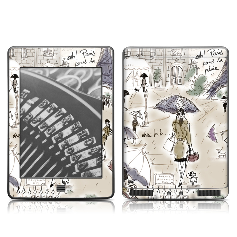 Amazon Kindle 4th Gen Touch Skin design of Cartoon, Umbrella, Illustration, Organism, Art, Fiction, Fictional character with brown, gray, purple colors