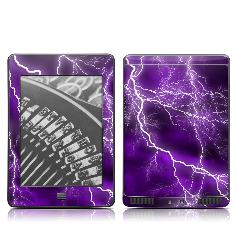 Amazon Kindle 4th Gen Touch Skin design of Thunder, Lightning, Thunderstorm, Sky, Nature, Purple, Violet, Atmosphere, Storm, Electric blue with purple, black, white colors