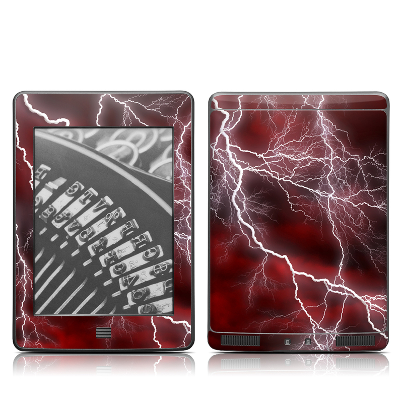 Amazon Kindle 4th Gen Touch Skin design of Thunder, Thunderstorm, Lightning, Red, Nature, Sky, Atmosphere, Geological phenomenon, Lighting, Atmospheric phenomenon with red, black, white colors