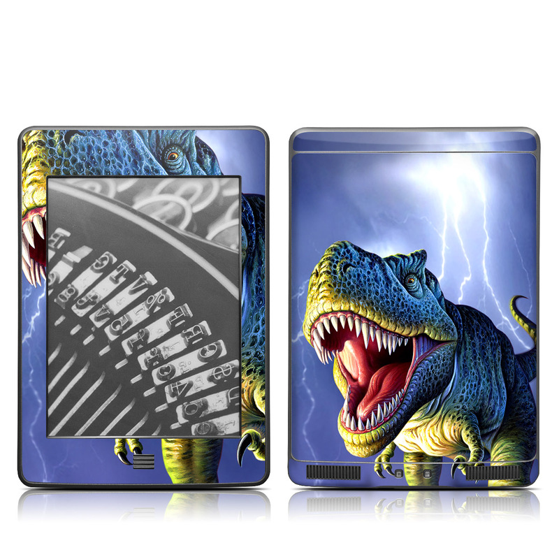 Amazon Kindle 4th Gen Touch Skin design of Dinosaur, Extinction, Tyrannosaurus, Velociraptor, Tooth, Jaw, Organism, Mouth, Fictional character, Art with blue, green, yellow, orange, red colors