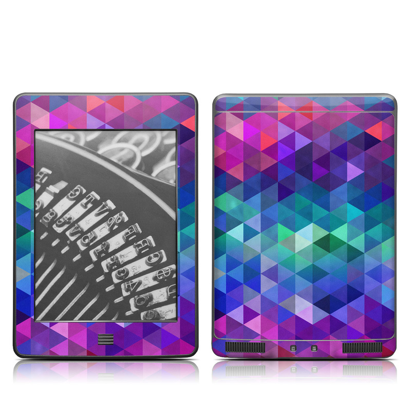 Amazon Kindle 4th Gen Touch Skin design of Purple, Violet, Pattern, Blue, Magenta, Triangle, Line, Design, Graphic design, Symmetry with blue, purple, green, red, pink colors