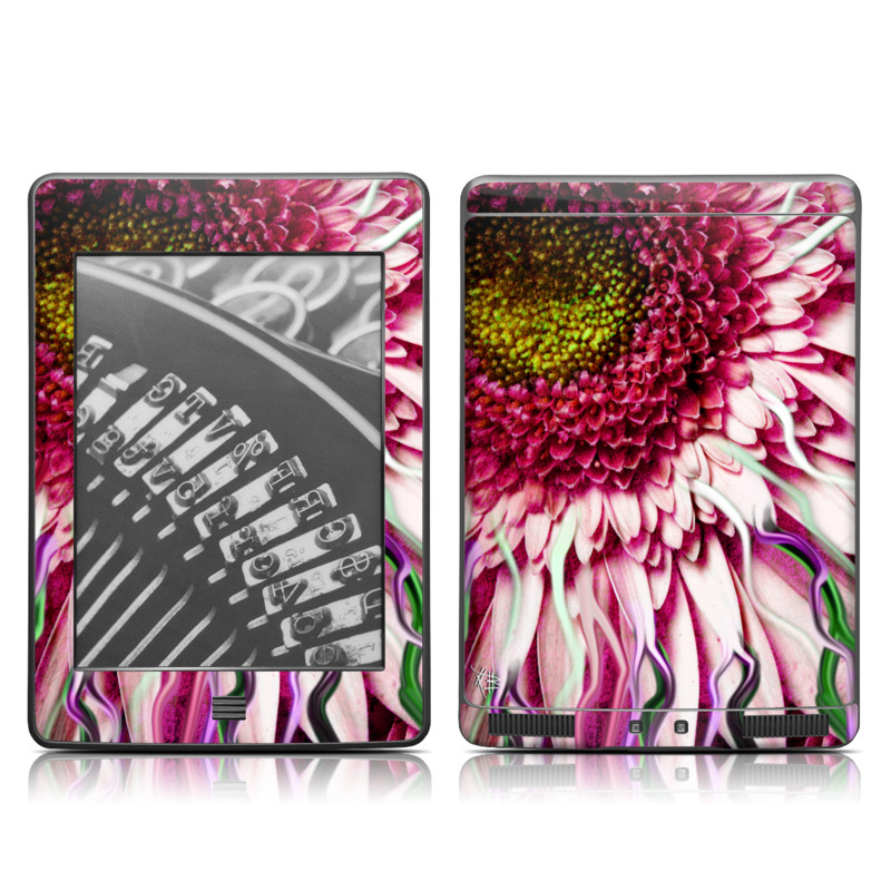Amazon Kindle 4th Gen Touch Skin design of Flowering plant, Flower, Petal, Plant, Purple, Pink, Gazania, Violet, Gerbera, Chrysanths with black, gray, red, purple, pink, white colors