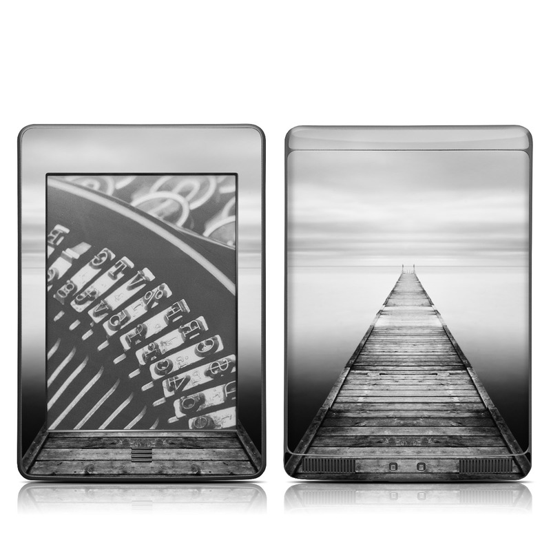 Amazon Kindle 4th Gen Touch Skin design of Water, Sky, Monochrome, Black-and-white, Sea, Horizon, Symmetry, Calm, Pier, Monochrome photography with gray, black colors