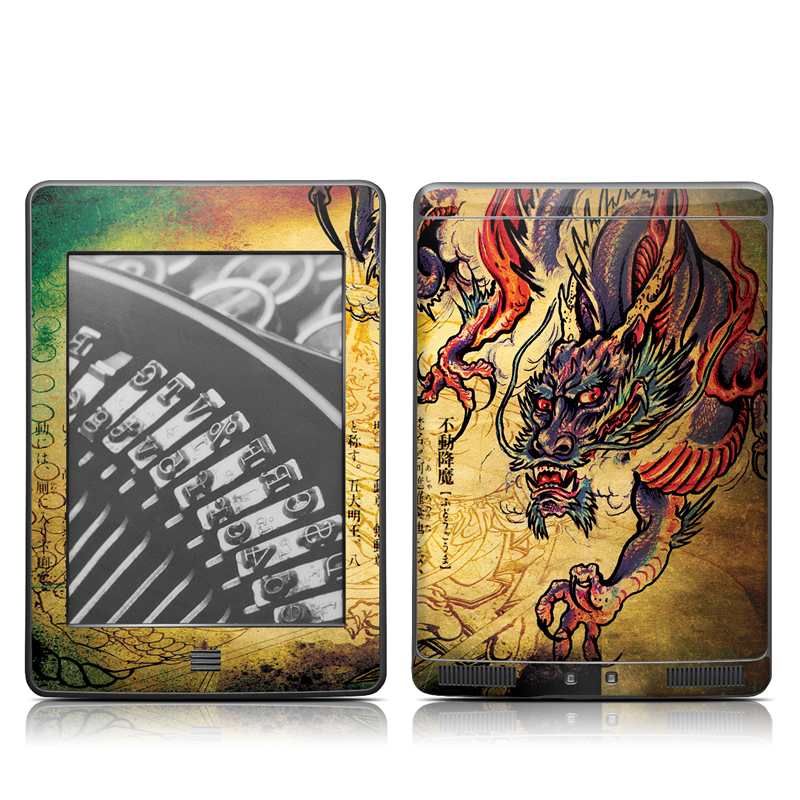 Amazon Kindle 4th Gen Touch Skin design of Illustration, Fictional character, Art, Demon, Drawing, Visual arts, Dragon, Supernatural creature, Mythical creature, Mythology with black, green, red, gray, pink, orange colors