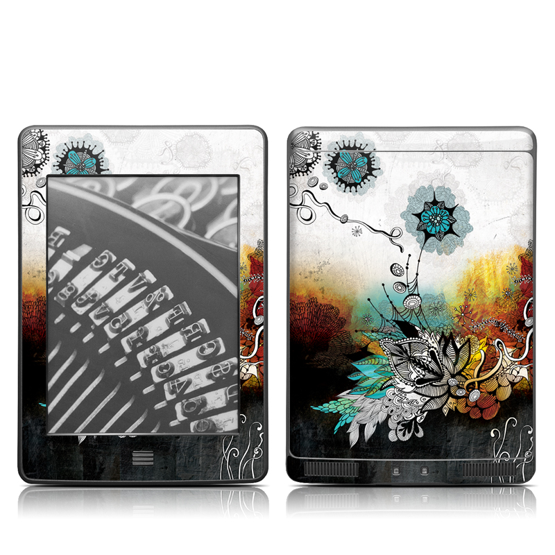 Amazon Kindle 4th Gen Touch Skin design of Graphic design, Illustration, Art, Design, Visual arts, Floral design, Font, Graphics, Modern art, Painting with black, gray, red, green, blue colors