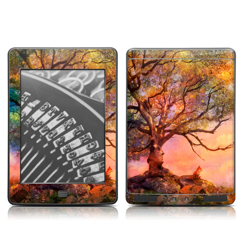 Amazon Kindle 4th Gen Touch Skin design of Nature, Tree, Sky, Natural landscape, Branch, Leaf, Woody plant, Trunk, Landscape, Plant with pink, red, black, green, gray, orange colors