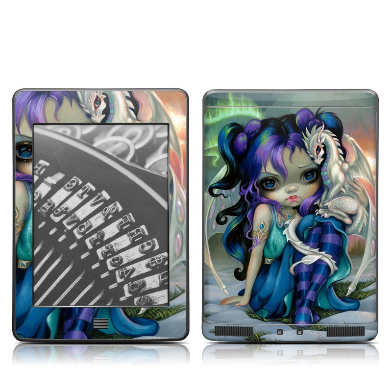 Amazon Kindle 4th Gen Touch Skin design of Illustration, Fictional character, Cg artwork, Art, Mythology, Anime, Mythical creature with green, blue, purple, yellow, red, white colors