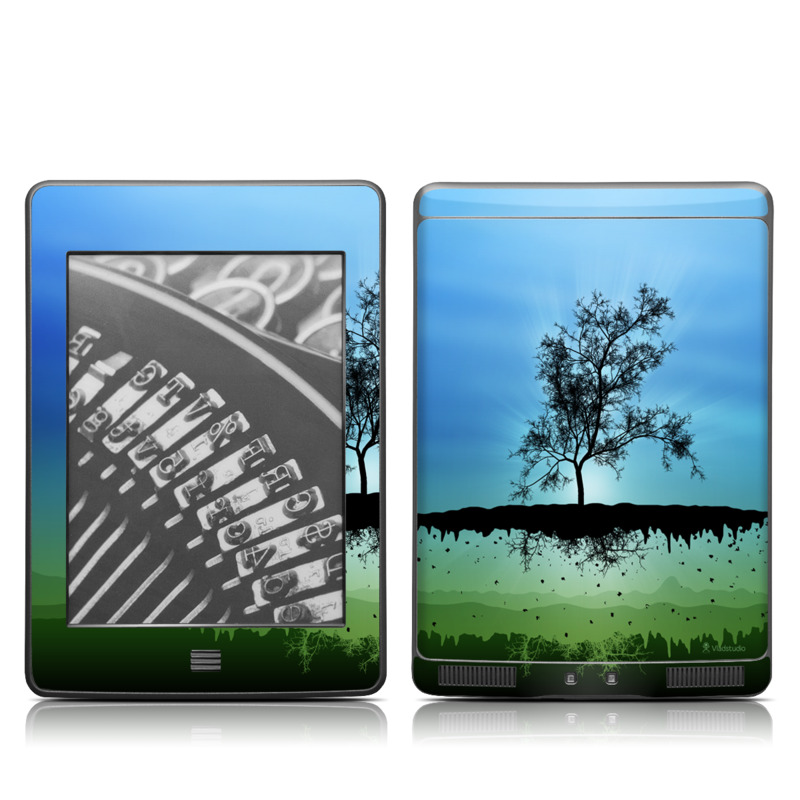 Amazon Kindle 4th Gen Touch Skin design of Natural landscape, Nature, Sky, Reflection, Tree, Blue, Water, Green, Atmospheric phenomenon, Calm with blue, black, gray, green colors