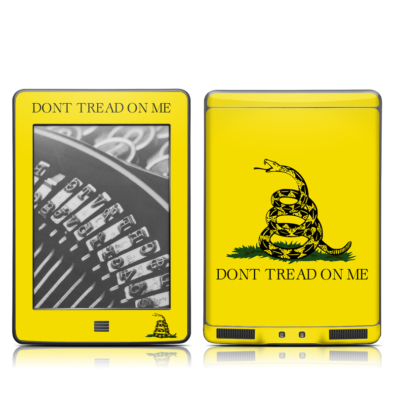 Amazon Kindle 4th Gen Touch Skin design of Yellow, Font, Logo, Graphics, Illustration with orange, black, green colors