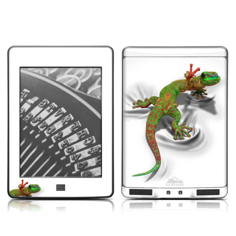 Amazon Kindle 4th Gen Touch Skin design of Lizard, Reptile, Gecko, Scaled reptile, Green, Iguania, Animal figure, Wall lizard, Fictional character, Iguanidae with white, gray, black, red, green colors