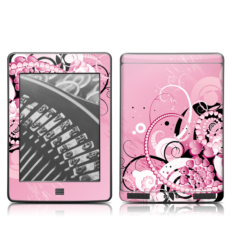 Amazon Kindle 4th Gen Touch Skin design of Pink, Floral design, Graphic design, Text, Design, Flower Arranging, Pattern, Illustration, Flower, Floristry with pink, gray, black, white, purple, red colors