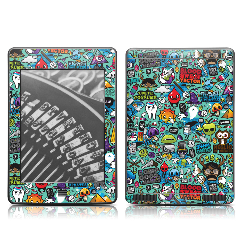 Amazon Kindle 4th Gen Touch Skin design of Cartoon, Art, Pattern, Design, Illustration, Visual arts, Doodle, Psychedelic art with black, blue, gray, red, green colors