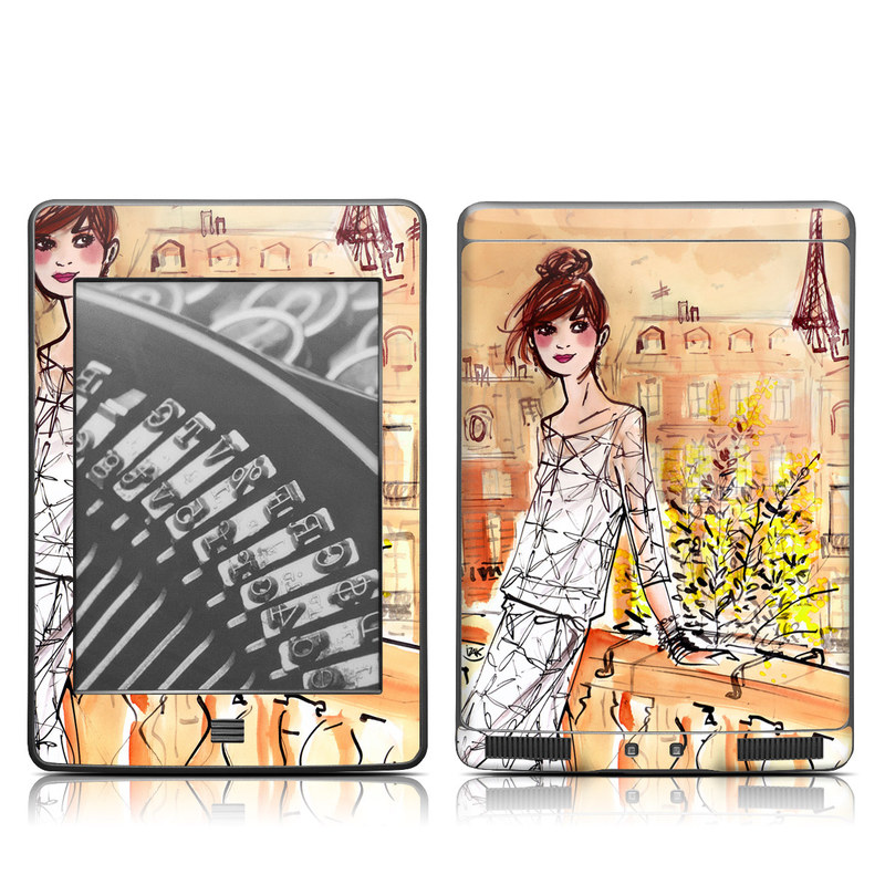 Amazon Kindle 4th Gen Touch Skin design of Fashion illustration, Watercolor paint, Cartoon, Yellow, Illustration, Drawing, Art, Fashion design, Sketch, Dress with gray, pink, green, red, black, white colors
